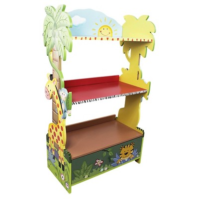 Fantasy Fields - Hand Crafted & Painted Kids Wooden Bookshelf - Sunny Safari