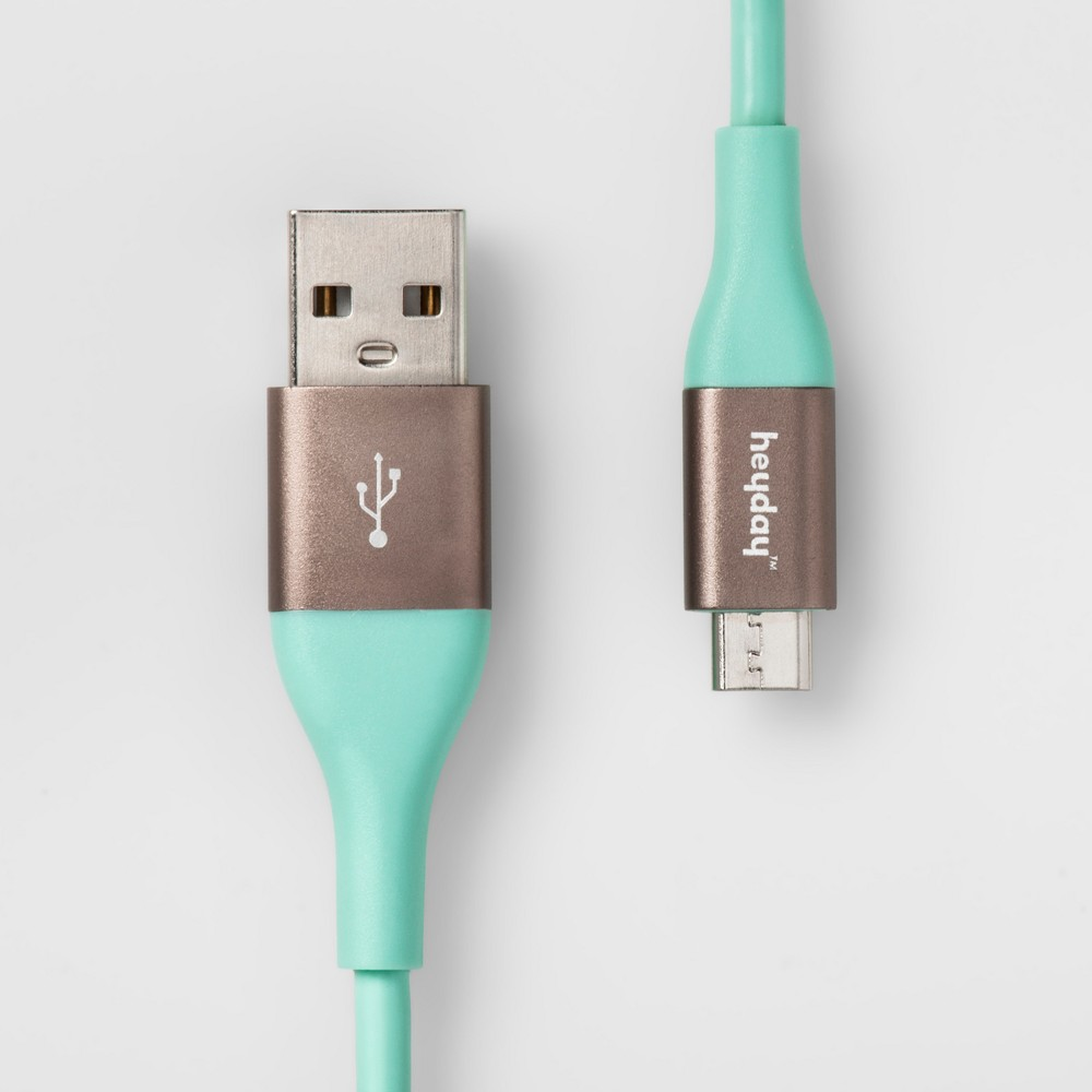 heyday Micro Usb to Usb-A Tpu Cable 6ft - Teal/Gold (Blue/Gold)