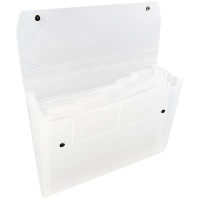 """JAM Paper 9"""" x 13"""" 6 Pocket Plastic Expanding File Folder with Snap Closure - Letter Size - Clear"""