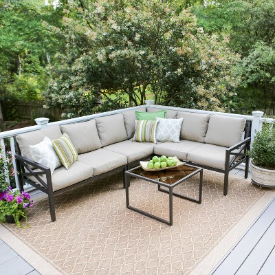 Blakely 5pc Patio Seating Set with Sunbrella Fabric - Tan - Leisure Made