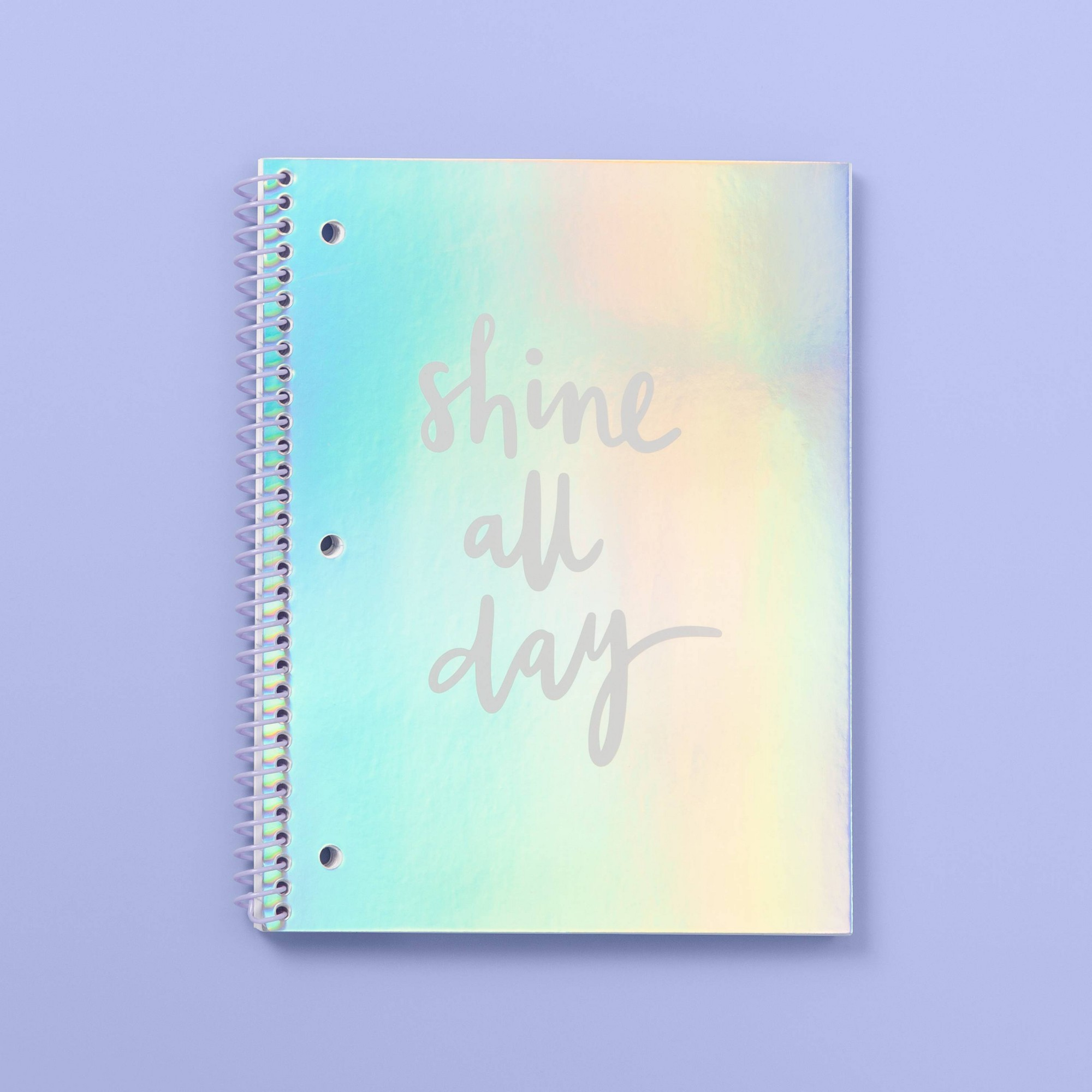 Iridescent Aurora Shine All Day Wide Ruled Spiral Subject Notebook - More Than Magic, Multi-Colored