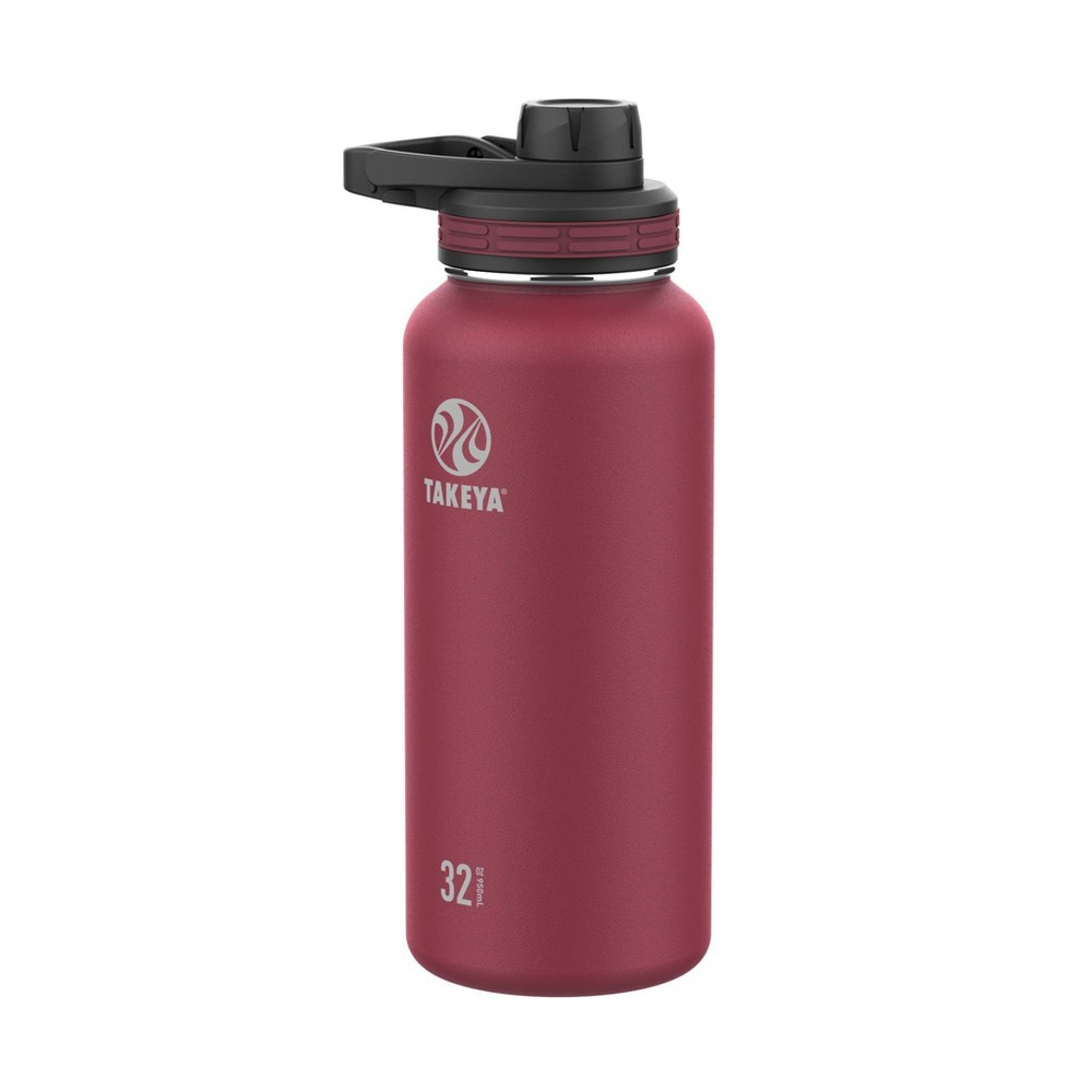 Takeya 32oz Outdoor Essential Insulated Stainless Steel Water Bottle With Spout Cap Maroon