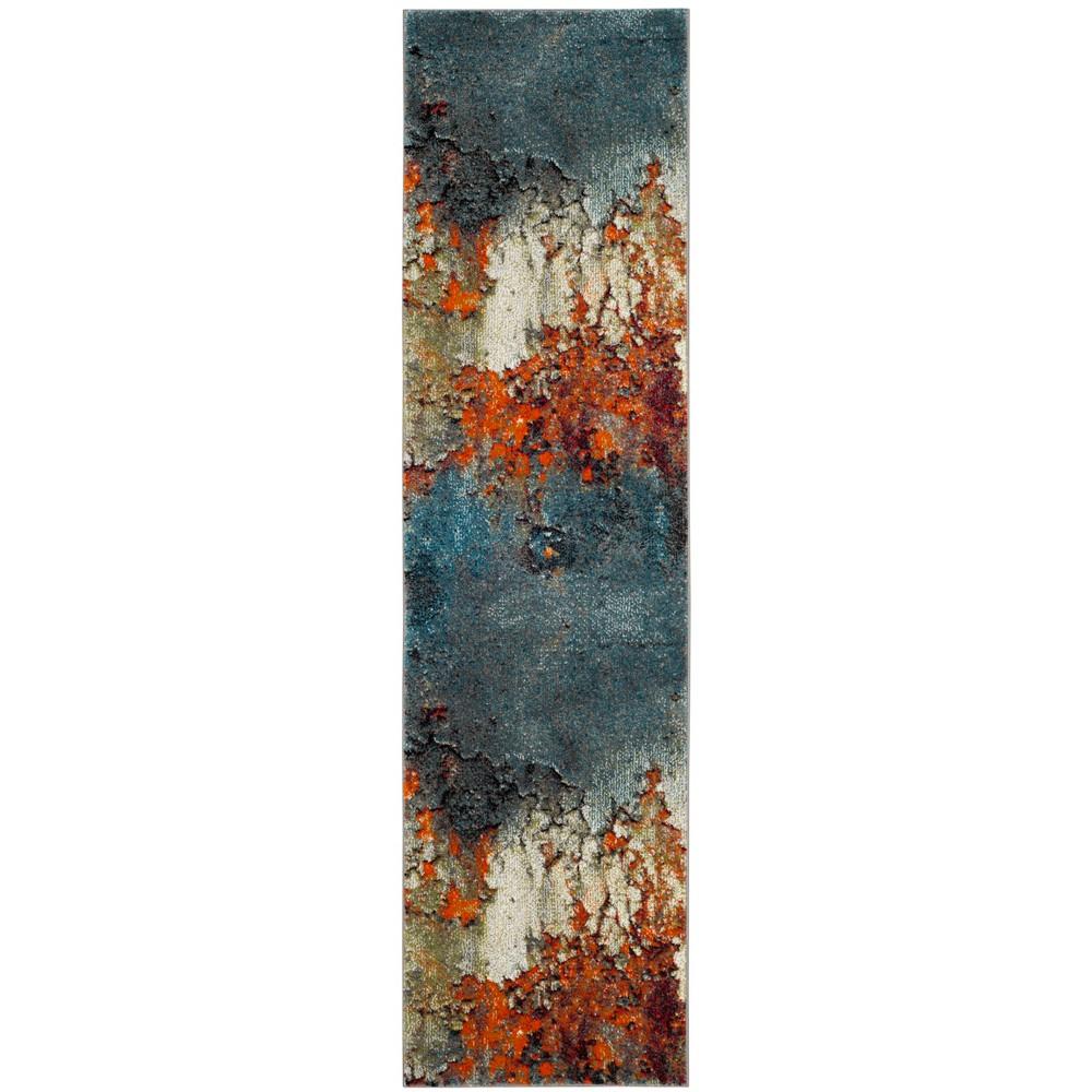 Loomed Tie Dye Design Runner Rug Blue