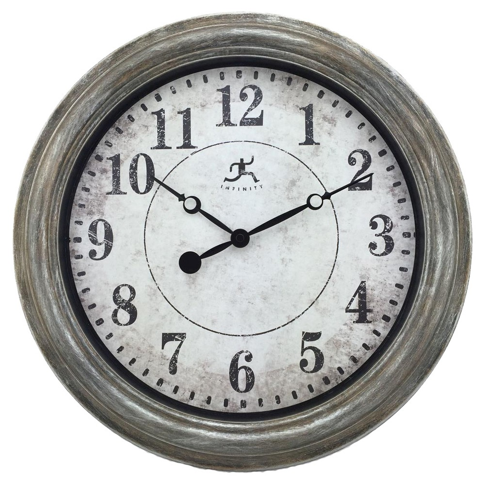 Image of Aged Metal Round Wall Clock Silver - Infinity Instruments