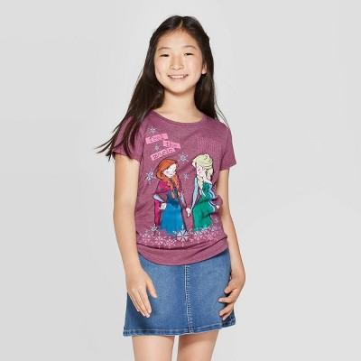 "Girls' Frozen ""Feel The Magic"" Short Sleeve Graphic T-Shirt - Burgundy"