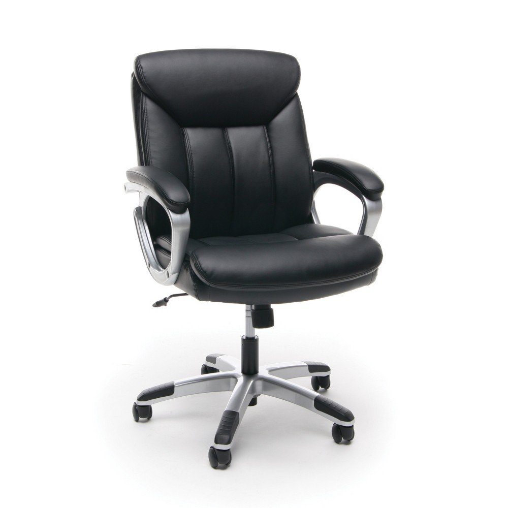 Mid Back Leather Office Chair Black/Silver - Ofm