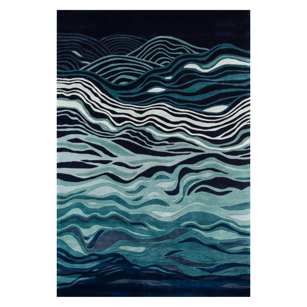 2'X3' Wave Tufted Accent Rug Navy (Blue) - Momeni