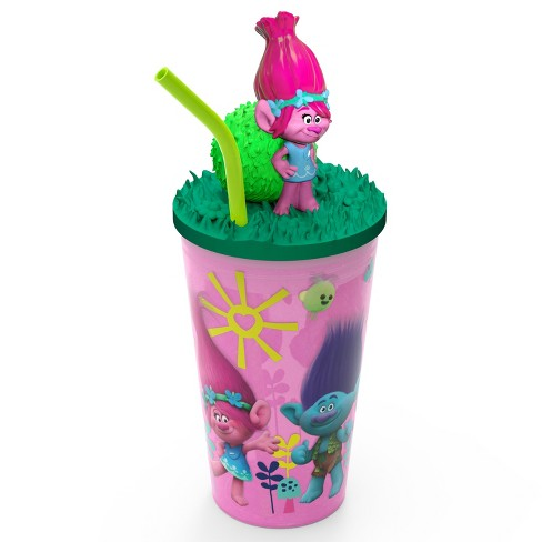 Trolls Poppy 15oz Plastic Cup With Lid And Straw - Pink/Green - Zak Designs - image 1 of 5