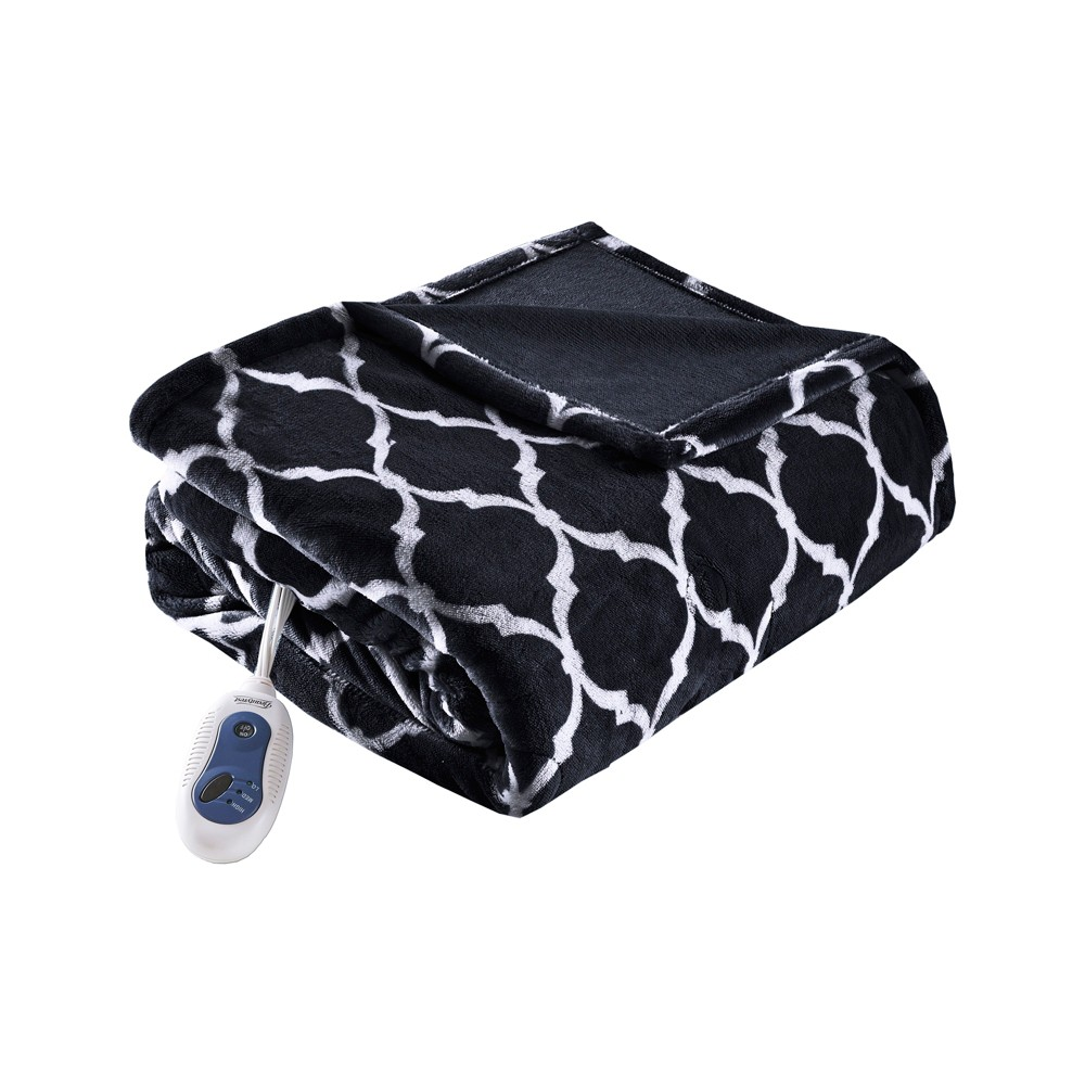 Electric Ogee Printed Oversized Throw 60x70 Black