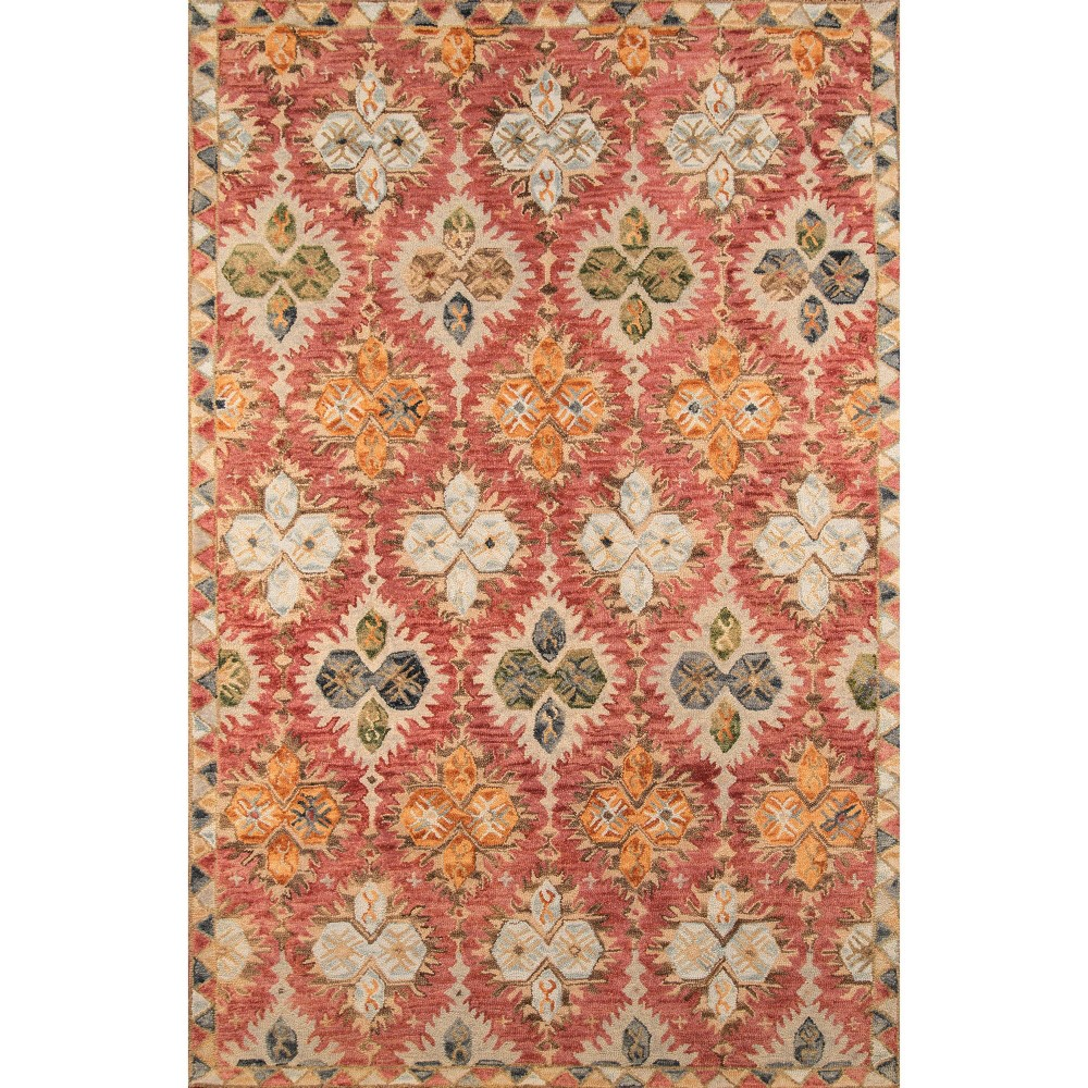Red Geometric Tufted and Hooked Accent Rug 3'6