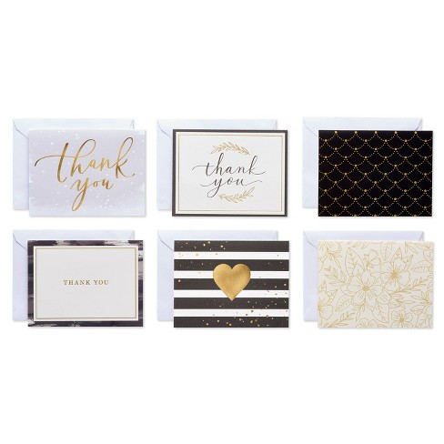 50ct Thank You Notes with Envelopes Gold - image 1 of 4