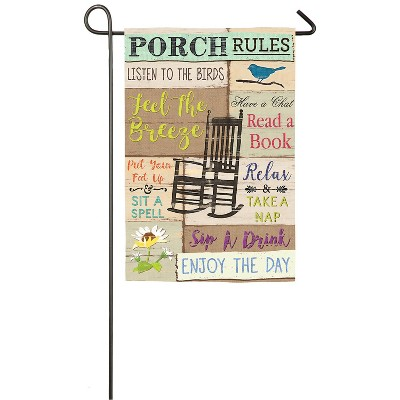 Evergreen Porch Rules Garden Suede Flag