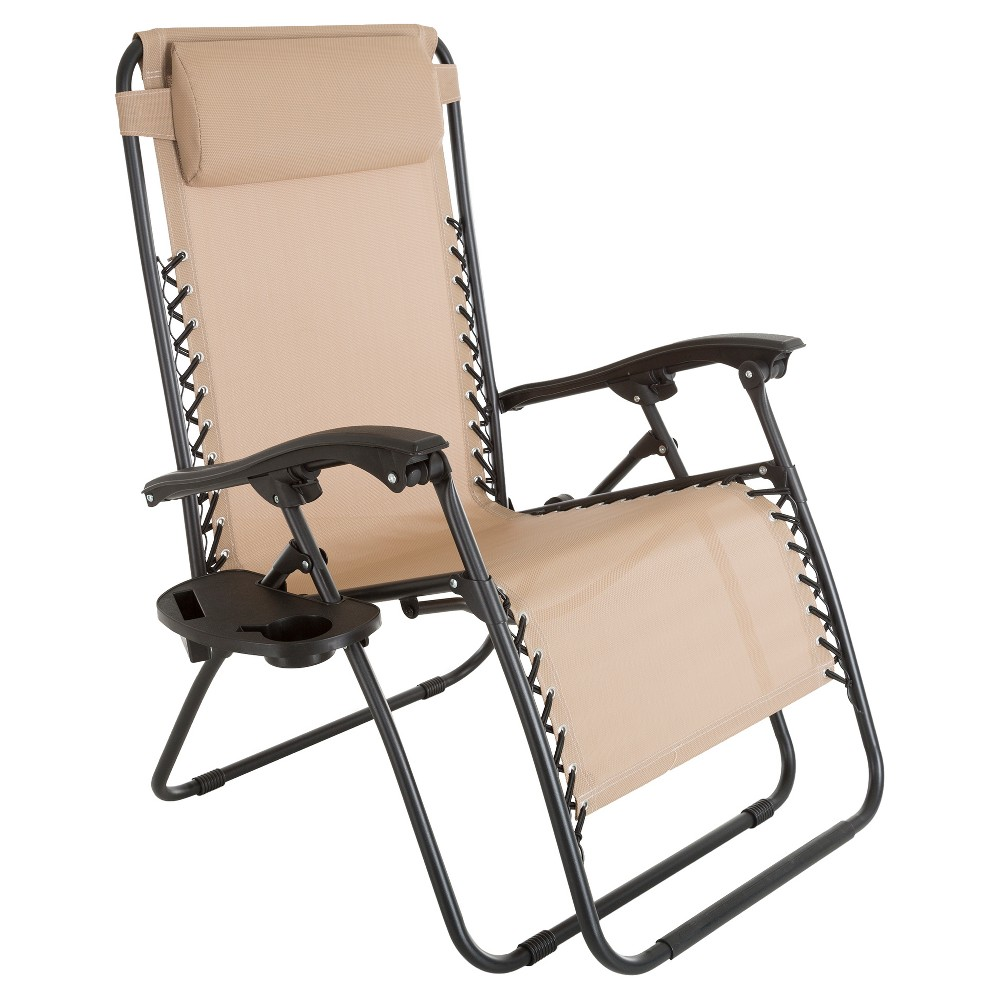 Oversized Zero Gravity Chair With Pillow And Cup Holder - Pure Garden This lightweight and foldable Zero Gravity Lounge Chair by Pure Garden is ready for your next outdoor adventure! This chair is great for lounging at the beach, relaxing at your favorite campground, or tanning in your own backyard. It features a sturdy polypropylene cupholder that's also great for holding cellphones, MP3 players, lotions or bug sprays along with an adjustable headrest pillow that can double as lumbar support. The oversized tubular steel frame and rugged Textilene fabric combined with the 350lb (159 kilogram) capacity make this chair perfect for everything from rustic, lakeside getaways to enjoying drinks with friends on your deck or patio. Age Group: Adult. Pattern: Solid.