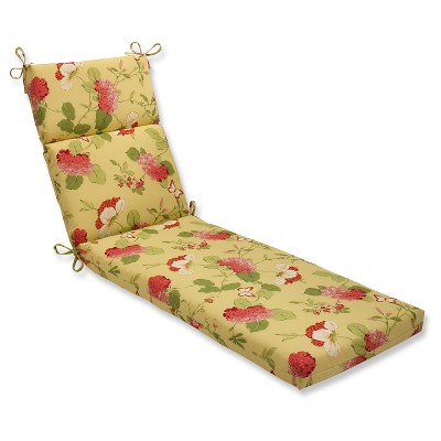 Outdoor Chaise Lounge Cushion - Yellow/Red Floral