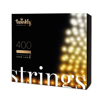 Twinkly TWS400GOP-GUS 400 LED White and Amber 105 ft. String Lights, Bluetooth and WiFi Controlled, Decorative Lights for Home, Classroom, Dorm Room