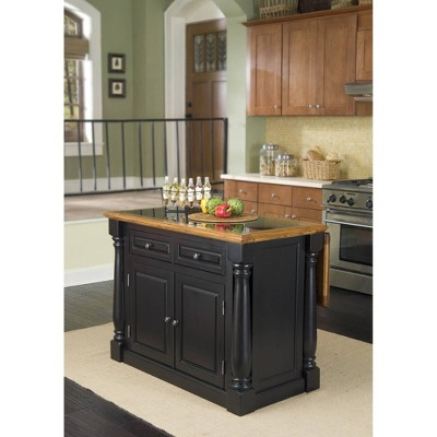 Monarch Kitchen Island Granite Top Black/Oak - Home Styles