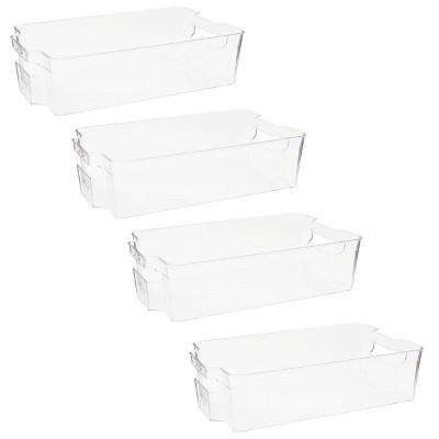 Juvale 4 Pack Fridge Clear Organizing Bins for Produce, Freezer Storage (14 x 8 x 4 In)
