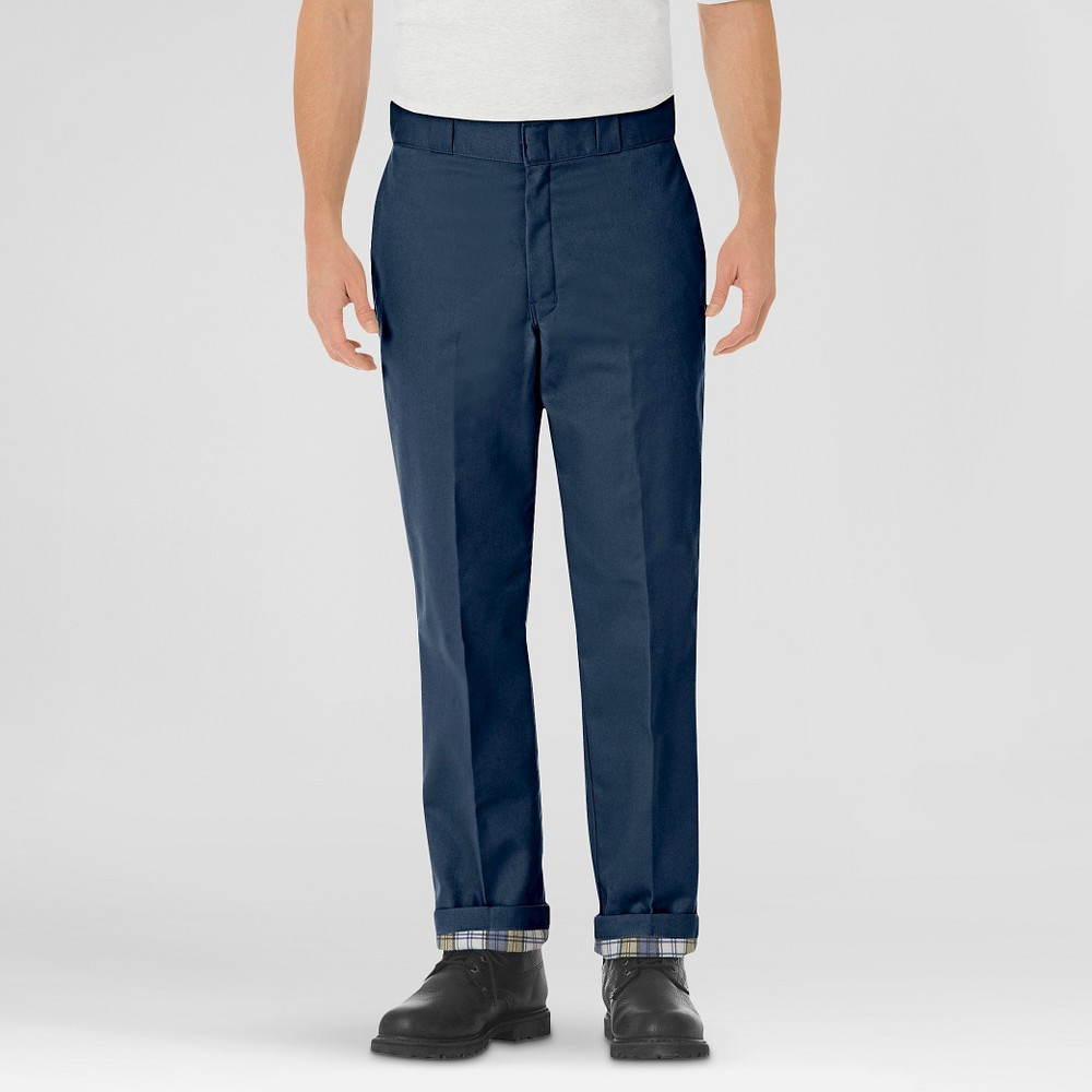 Dickies Men's Relaxed Straight Fit Flannel-Lined Twill Work Pants- Navy (Blue) 38x32