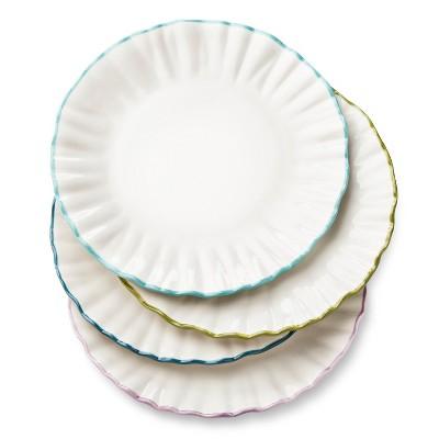 Isabella Ruffle Assorted Stoneware Salad Plate 8.5   White - Set of 4