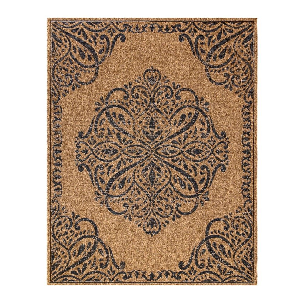 Image of 5'x7' Raceme Chestnut Outdoor Rug Black - Studio by Brown Jordan