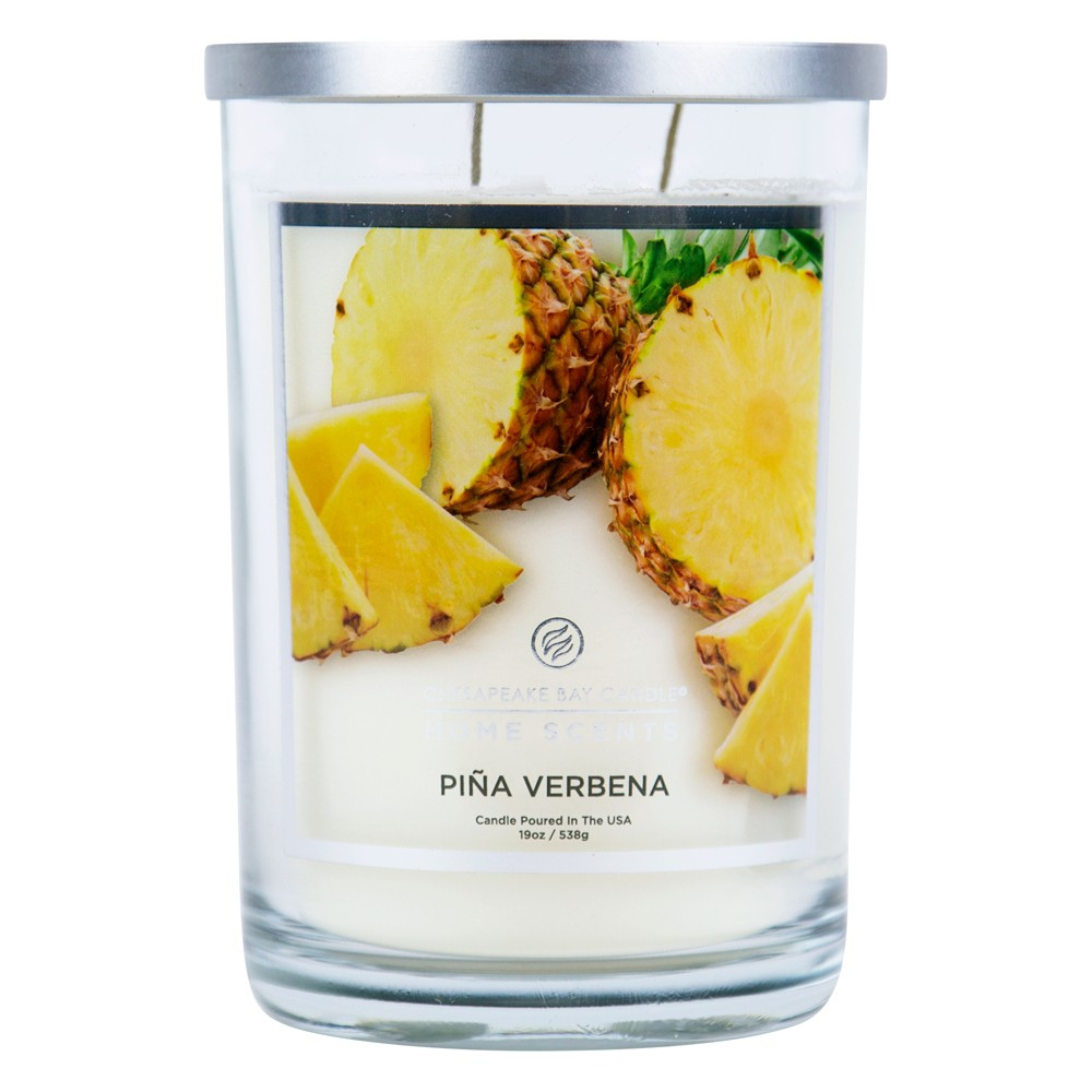 19oz Lidded Glass Jar 2-Wick Candle Piña Verbena - Home Scents By Chesapeake Bay Candle, White