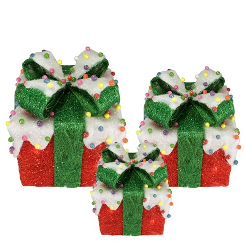 Northlight Set of 3 Red Lighted Snow and Candy Covered Sisal Gift Boxes Christmas Outdoor Decorations