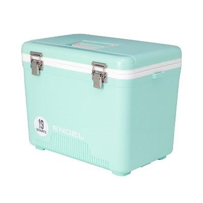 Engel 19 Quart 32 Can Leak Proof Odor Resistant Insulated Cooler Drybox with Integrated Shoulder Strap, Seafoam