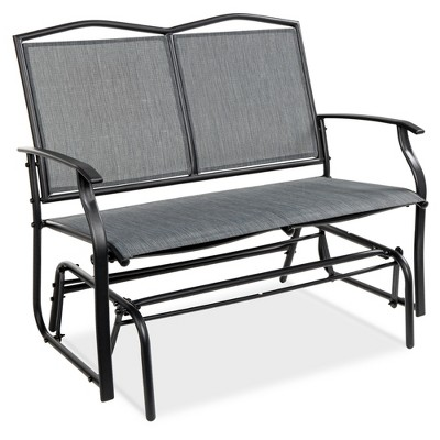 Best Choice Products 2-Person Outdoor Swing Glider, Patio Loveseat, Steel Bench Rocker for Porch w/ Armrests