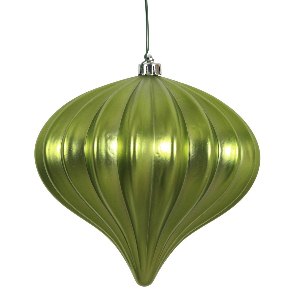 "Image of ""3ct Vickerman 5.7"""" Matte Onion Ornament, UV Coated Ornament Set Lime"""