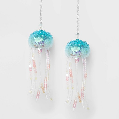 2ct Sequin Jellyfish Christmas Ornament Set Blue and White - Wondershop™ - image 1 of 2