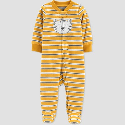 Baby Boys' Tiger Fleece Footed Pajama - Just One You® made by carter's Gold Newborn