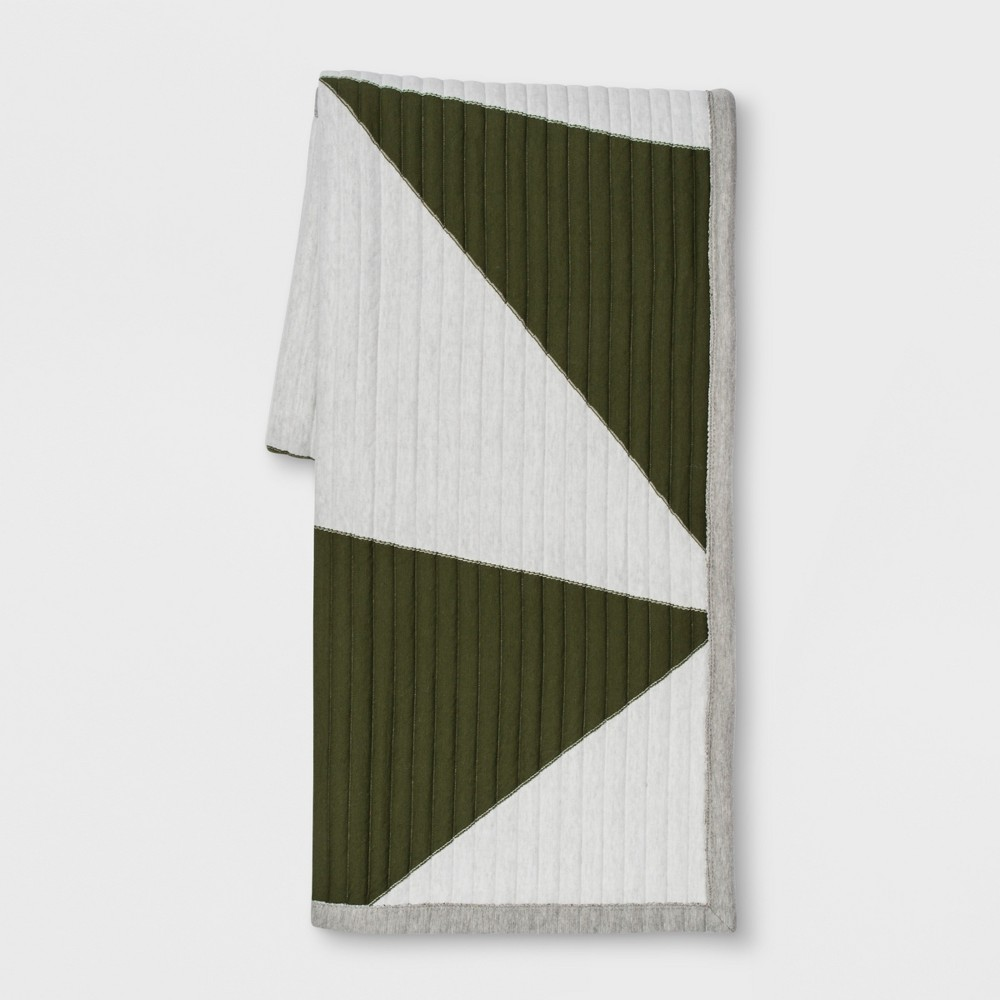 Quilted Jersey Throw Blanket Green - Room Essentials