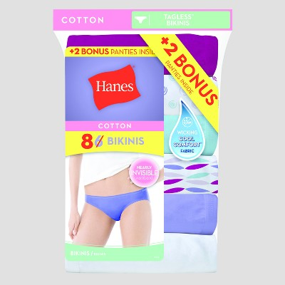 Hanes® Women's Cotton Bikini Briefs 6+2 Bonus pk (Colors May Vary)- Assorted Size 6