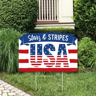 Big Dot of Happiness Stars & Stripes - Memorial Day, 4th of July and Labor Day Patriotic Party Yard Sign Lawn Decorations - USA Party Yardy Sign