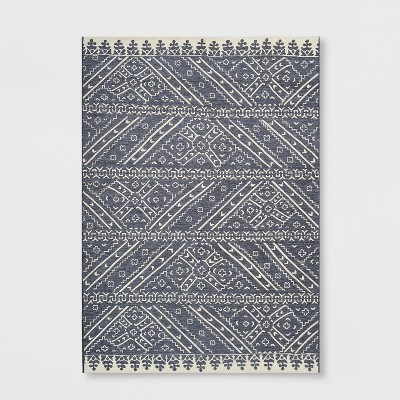 7' x 10' Royal Stripe Outdoor Rug Charcoal - Opalhouse™