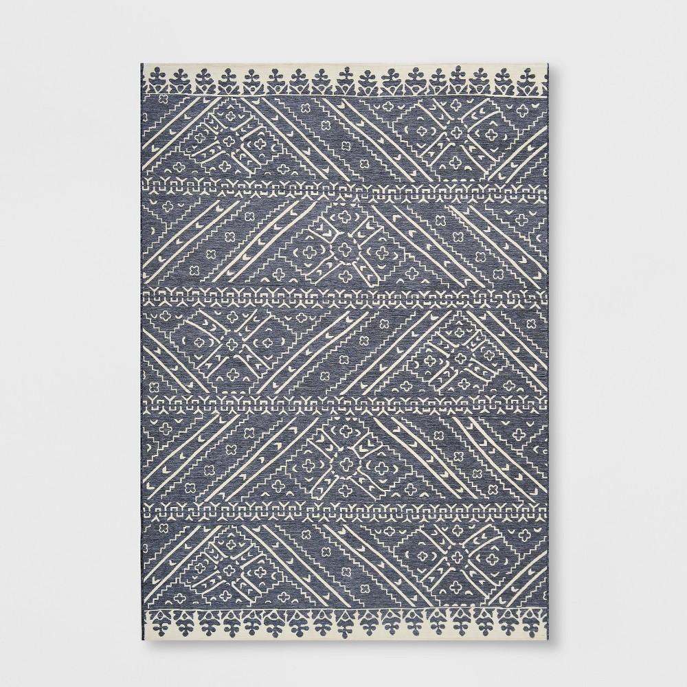 7' x 10' Royal Stripe Outdoor Rug Charcoal (Grey) - Opalhouse