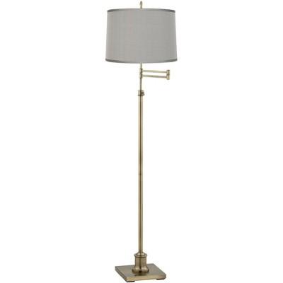 360 Lighting Swing Arm Floor Lamp Adjustable Height Antique Brass Platinum Gray Dupioni Silk Drum Shade for Living Room Reading