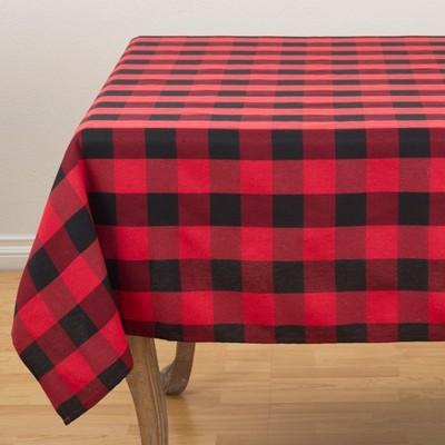 70 x70  Buffalo Plaid Tablecloth Red/Black - Saro Lifestyle