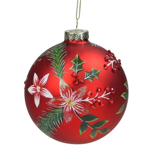 Northlight 4 Red Poinsettia And Jewel Holly Glass Ball Christmas Ornament Target