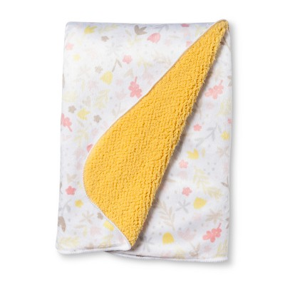 Plush Velboa Baby Blanket Floral Wheat Valley - Cloud Island™ Yellow