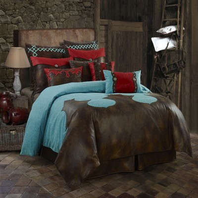 Saverio Odessa Classic Western Design Faux Leather Hand Stitched Yoke Shape Bedding Set
