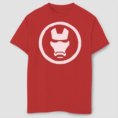 Boys' Marvel Iron Man Mask Short Sleeve T-Shirt - Red