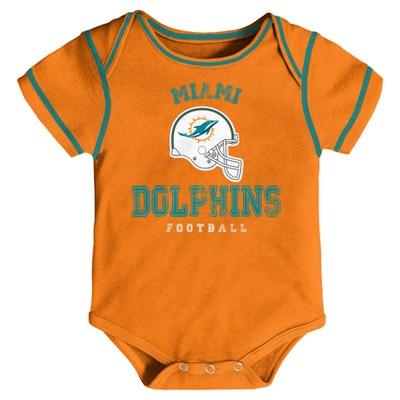 Miami Dolphins Baby Boys' Awesome Football Fan 3pk Bodysuit Set - 18 M