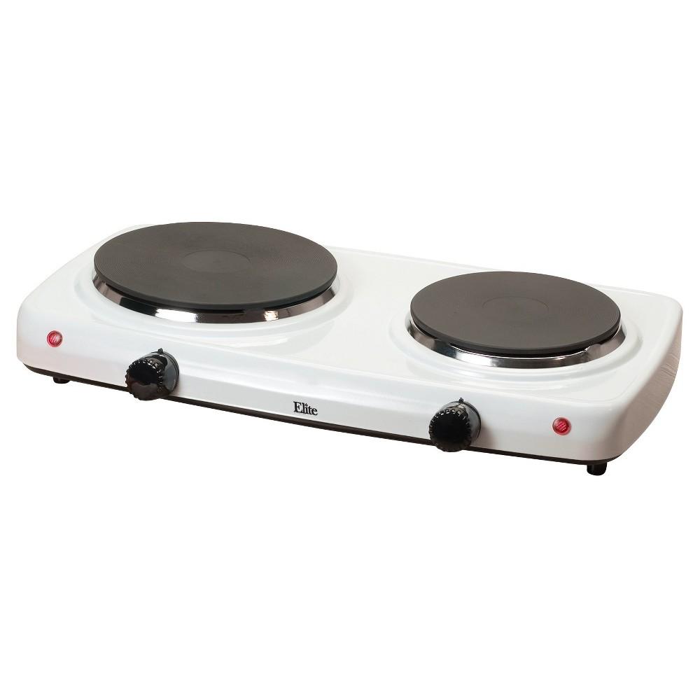 Elite Cuisine Electric Double Cast Burner Hot Plate Edb-302F, White 49123224