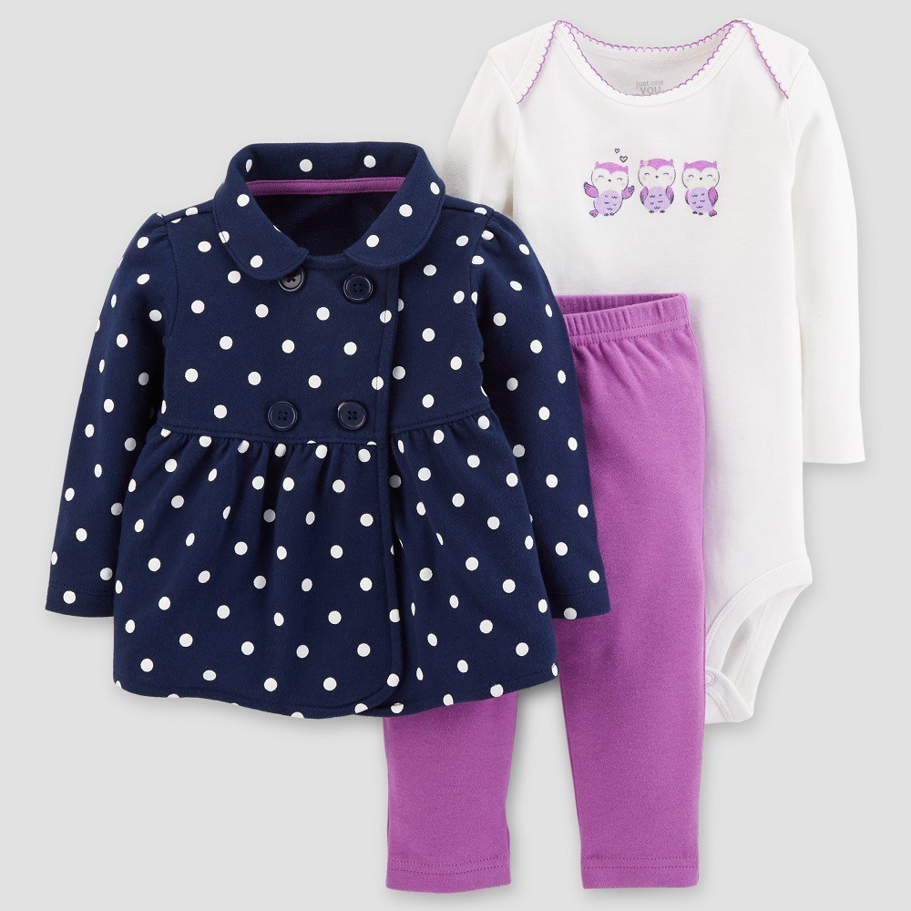 Baby Girls' Cotton 3pc Dot Owl Set - Just One You Made by Carter's Navy/Purple Newborn, Blue