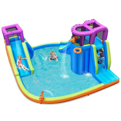 Costway 6 in 1 Inflatable Dual Slide Water Park Climbing Bouncer