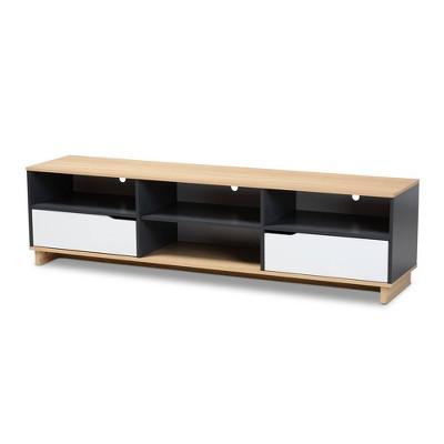 75'' Reed 2 Drawer Wood Tv Stand White/Oak - Baxton Studio