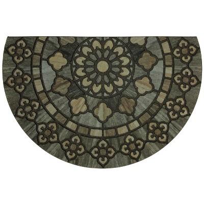 1'9 X2'9  Floral Half-circle Doormats Black - Mohawk