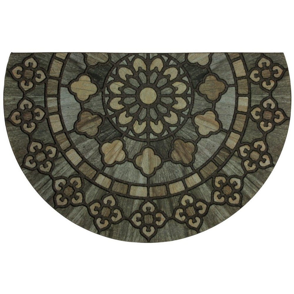 "Image of ""1'9""""X2'9"""" Floral Half-circle Doormats Black - Mohawk"""
