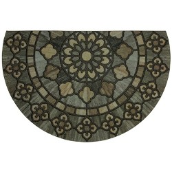 """1'9""""X2'9"""" Floral Half-circle Doormats Black - Mohawk"""